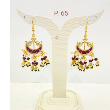 Gold Plated Moon Shape Ruby Stone Earring With Haging Moti 1680