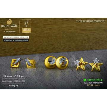 18kt Stylish Fancy Cz Gold Ladies Tops ATG -0462