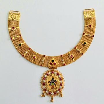 916 Gold Kalkati Necklace Set MGA - KN001