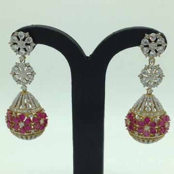 White and Red CZ Stones Ear Jhumki JER0029