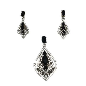 925 sterling silver black stone pendant set mga - pts0016