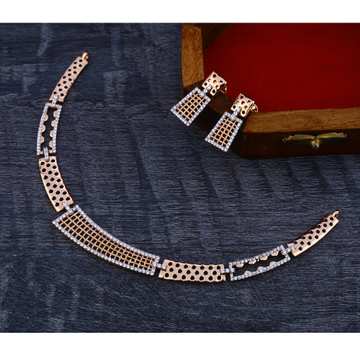18Ct CZ  Designer Diamond  Rose Gold Necklace Set RN170