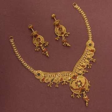 22kt/916 yellow gold exquisite floral necklace set for women