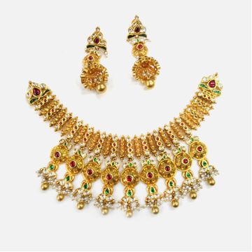 916 Gold Antique Bridal Necklace Set RHJ-0010