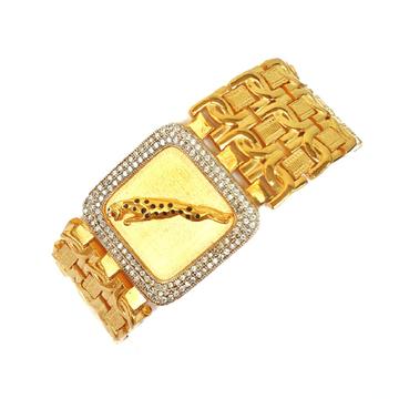 One gram gold forming square shaped jaguar bracelet mga - bre0026