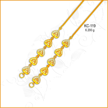 22KT Gold Heart Shape CZ Earchain KC-119