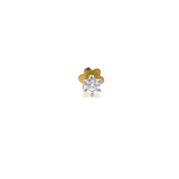 18kt / 750 yellow gold classic single 0.08 cts diamond nose pin 9NP153