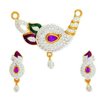 22KT Gold CZ Colorful Mangalsutra Pendant