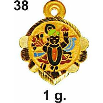 916 Gold Colorful Shrinathji Pendant DC-P038