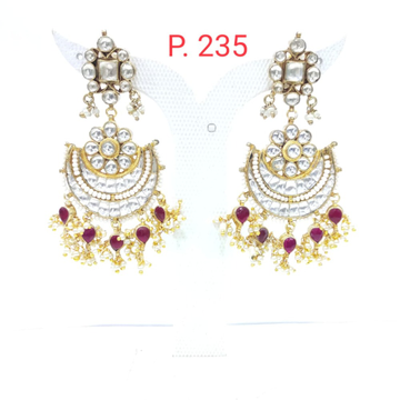 Moon style with ruby work & antique gold plated jumkha earrings 1568