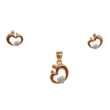 18K Rose Gold Heart Shaped Modern Pendant Set MGA - PTG0144