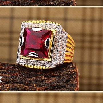 916 Gold Ruby Gents Ring