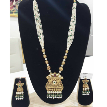 916 Antique White Chediyu Jadtar  Long Set