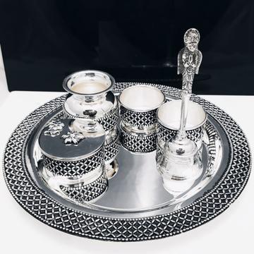925 Pure Silver Antique Pooja Thali Set PO-263-31 by Puran Ornaments
