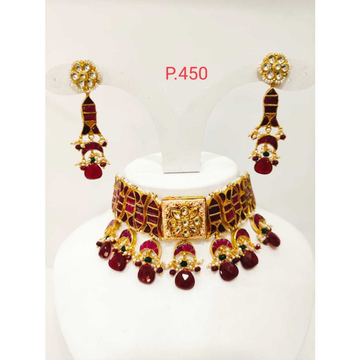 Gold plated kundan red Stone choker necklace set  1190