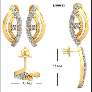 22kt Yellow Gold Foliage Lattice Earrings For Women