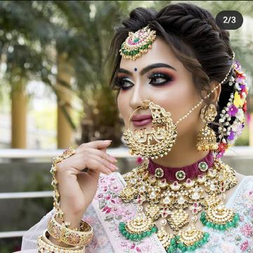 gold plated pachhi kundan bridal set