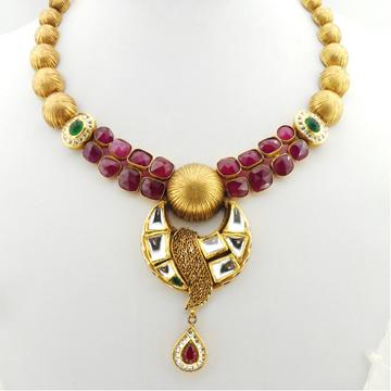 22K Gold Kundan Bridal Necklace Set RHJ-2920