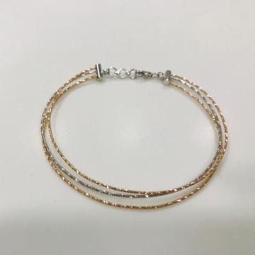 18 Kt Rose Gold Subtle Three Tone Three line Fancy Brecelet For Women