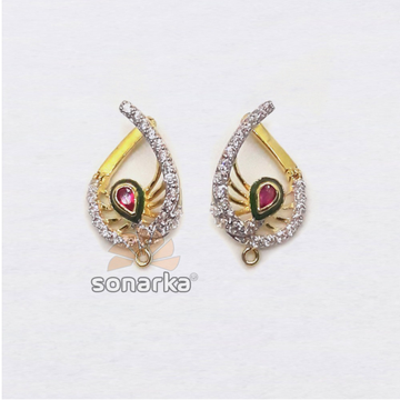 916 Gold CZ Diamond Earrings With Pink Stone