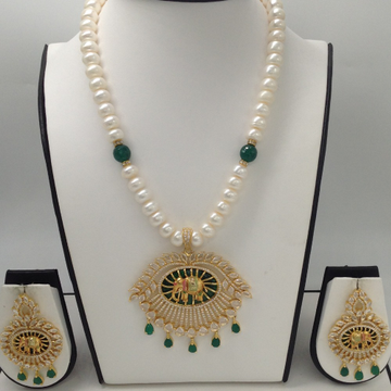 White And Green CZ With Green Enamel Elephant Pendent Set With 1 Line Flat Pearls Mala JPS0281
