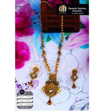 22KT Gold Antique Long Necklace Set DKG-0016