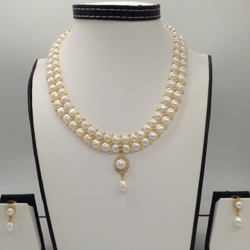 White CZ And Pearl Pendent Set With 2 Line Button Jali Pearls Mala JPS0384