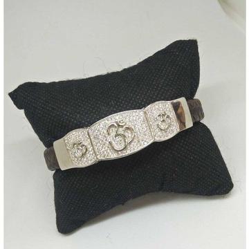 925 sterling silver designer om leather bracelet