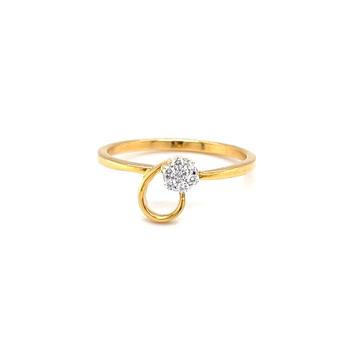 Seven diamond flower with a golden loop in hallmar...