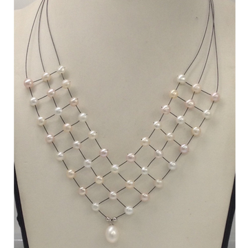 Freshwater White and Pink Button Pearls 3 Layers Jaali Wire Necklace