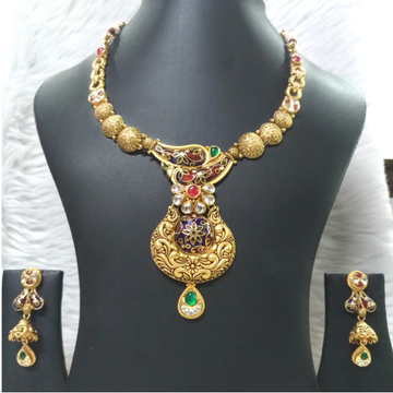 916 Gold Traditional Meenakari Necklace Set