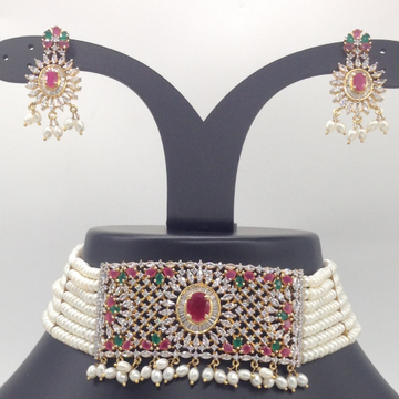 Tri Colour CZ And Pearls ChokerSet With 7Line FlatPearls Mala JPS0546