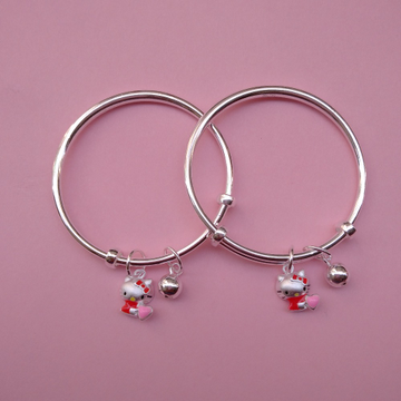 Pure Silver Baby Bangles with Kitty Charms (1 Pair...