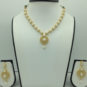Freshwater White Button Pearls Necklace Set JNC0108