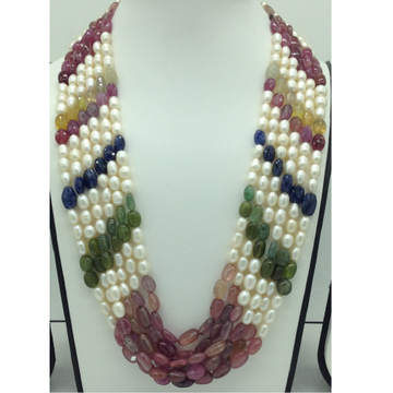 Freshwater White Pearls with Stones 6Layers Rainbow Necklace JPM0372