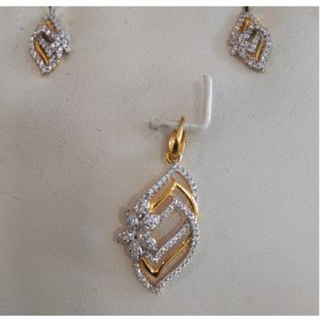 916 CZ Gold Morden Pendant Set  by