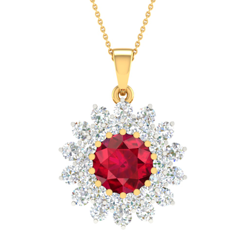 Real diamond fancy stone pendant by