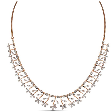 22kt gold and diamond studded floral design necklace jkn005