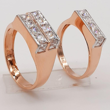18KT Rose Gold New Elegant Design Couple Ring  by Panna Jewellers