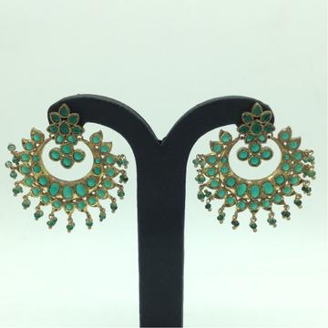 Green CZ Stones Ear Chand BaliJER0053