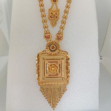 916 gold tikki work long set by Vinayak Gold