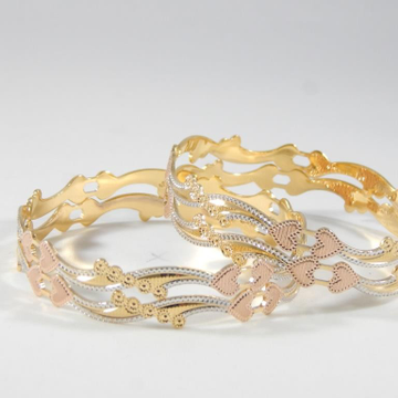 22kt Yellow Gold Sylvan Decked Heart Bangles For Women