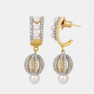 22kt, 916 hm, yellow gold basket earring with hanging ball jke101