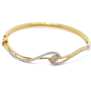 22KT / 916 gold single fancy CZ Bangle For Ladies... by