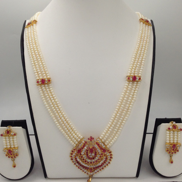 WhiteAnd Red CZ Rani HaarSet With 4Lines FlatPearls Mala JPS0476