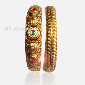 22K Gold Antique Kada Bangles