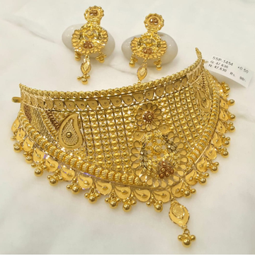 916 gold indian design choker set bj-n001 by