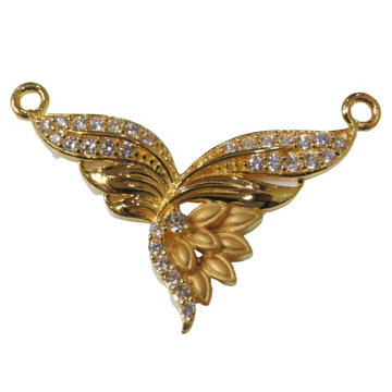 22kt gold cz casting double naka pendant