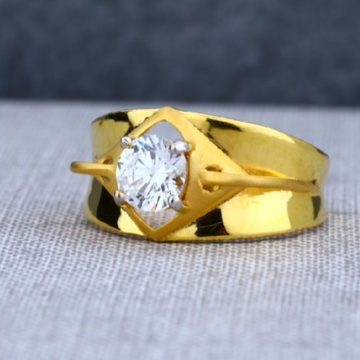 22 carat gold traditional single stone gents rings RH-GR423