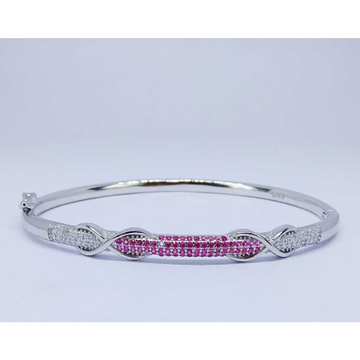 92.5 Sterling Silver Pink Stone Ladies Kada